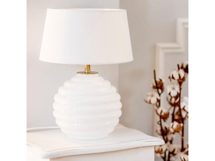Lampka stołowa Antibes z białego szkła Czarny Lampa z abażurem Wysokość 42 cm Wysokość 16 cm Lampa nocna Kolor Biały