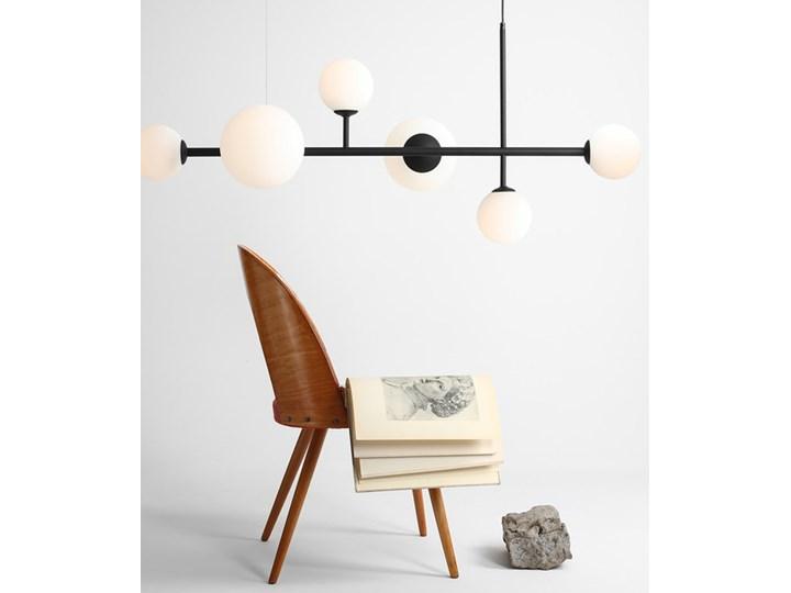 Żyrandol ze szklanymi kulami Floki Czarny Szkło Lampa z kloszem Metal Kolor Biały