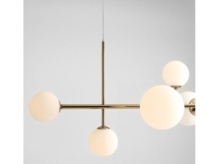 Żyrandol ze szklanymi kulami Floki Czarny Metal Lampa z kloszem Szkło Kolor Biały