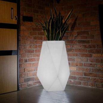 Wysoka podświetlana donica LED Volcano Do wnętrz / biały przewód z włącznikiem Zimna