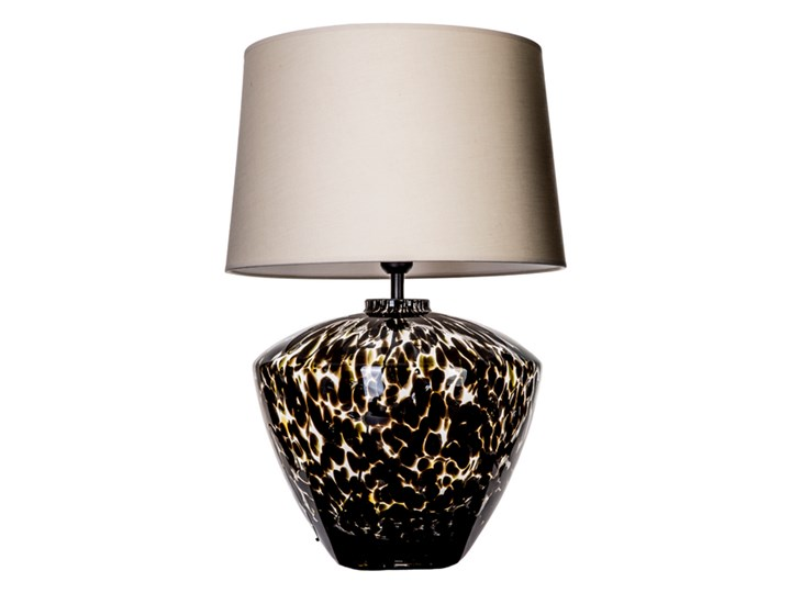 Designerska lampa stołowa Parma Czarny (złote wnętrze) Wysokość 48 cm Lampa z abażurem Wysokość 20 cm Kolor Złoty