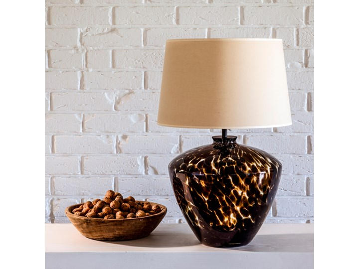 Designerska lampa stołowa Parma Czarny (złote wnętrze) Wysokość 48 cm Lampa z abażurem Kategoria Lampy stołowe Wysokość 20 cm Kolor Złoty