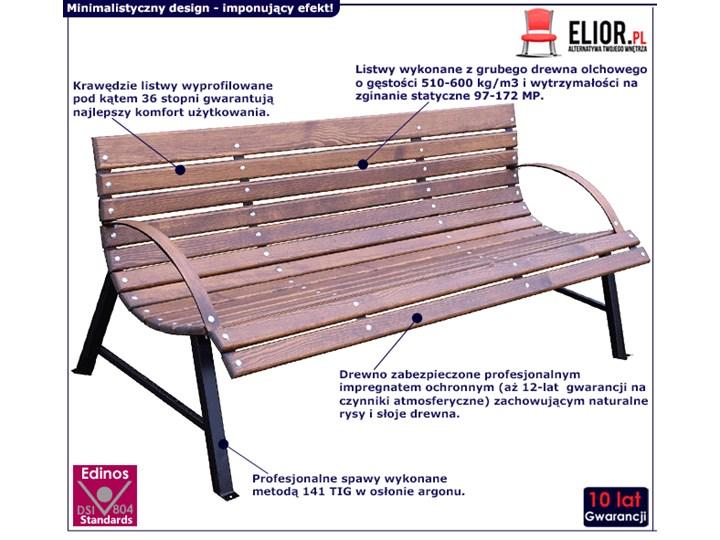 Drewniana ławka ogrodowa Wagris 190 cm - orzech Z oparciem Drewno Kolor Brązowy