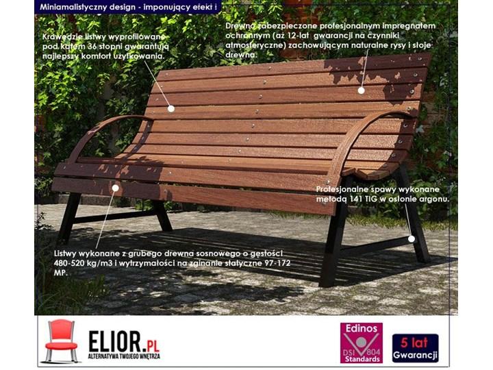Drewniana ławka parkowa Wagris 160 cm - orzech Drewno Z oparciem Kategoria Ławki ogrodowe Kolor Brązowy