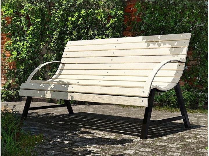Drewniana ławka z oparciem Wagris 140 cm - orzech Drewno Kolor Brązowy Kategoria Ławki ogrodowe