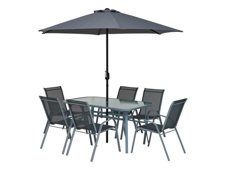 Gotowy zestaw mebli tarasowych Jumi Fiesta z parasolem Stoły z krzesłami Zawartość zestawu Stół