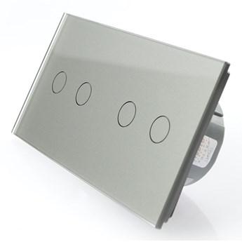Włącznik dotykowy szklany poczwórny 2+2 szary