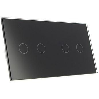 Włącznik dotykowy szklany poczwórny 2+2 czarny