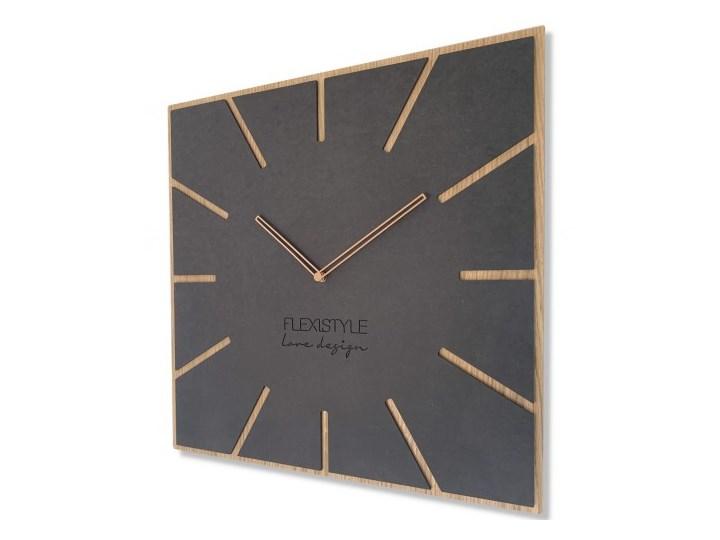 Wielki zegar ścienny EKO EXACT 4 50cm Drewno Kwadratowy Tworzywo sztuczne Styl Skandynawski