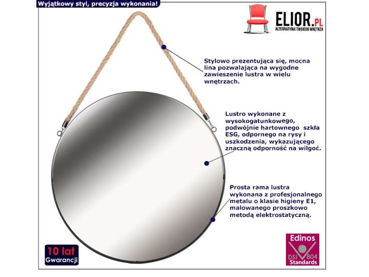 Okrągłe lustro Elmi - na sznurku Lustro z ramą Ścienne Styl Nowoczesny Pomieszczenie Przedpokój