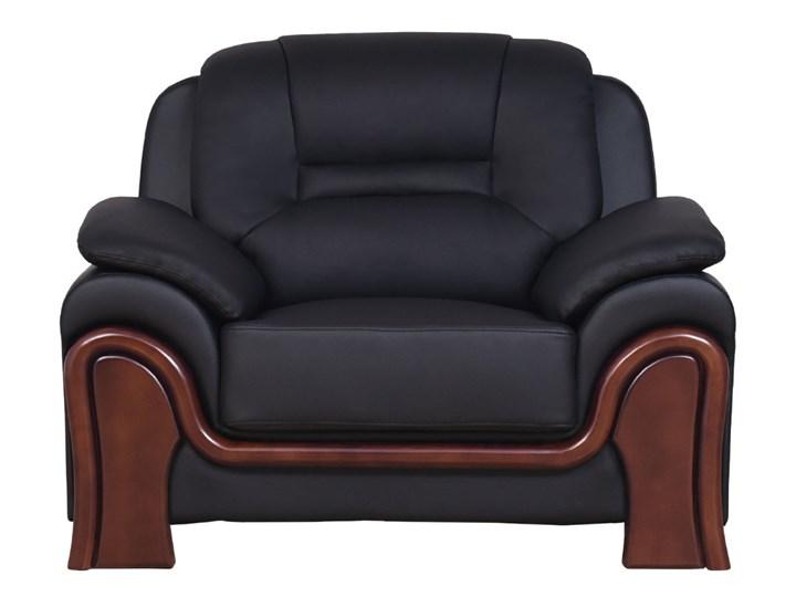 Fotel PALLADIO czarny Drewno Głębokość 90 cm Pomieszczenie Salon Fotel tradycyjny Wysokość 91 cm Skóra Szerokość 117 cm Pomieszczenie Biuro i pracownia
