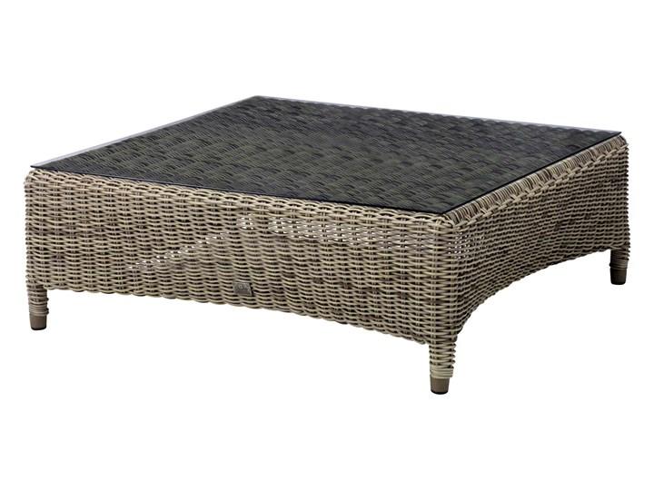 VALENTINE  - Ekskluzywny zestaw mebli ogrodowych brązowobeżowy z szarymi poduchami   Dekkor Stal Aluminium Zestawy wypoczynkowe Technorattan Zawartość zestawu Sofa