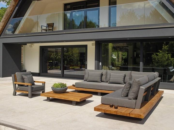 Meble ogrodowe aluminiowe - narożnik nowoczesny na taras FITZ   Dekkor Zestawy wypoczynkowe Kategoria Zestawy mebli ogrodowych Aluminium Kolor Szary