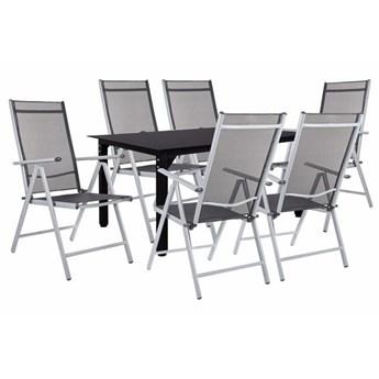 Meble ogrodowe zestaw ogrodowy dla 6 osób aluminium i szkło czarno-szary