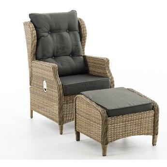 BRABOS - Fotel z technorattanu z regulowanym oparciem i podnóżkiem | Dekkor
