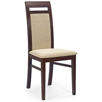 Krzesło tapicerowane drewniane Tolen - ciemny orzech
