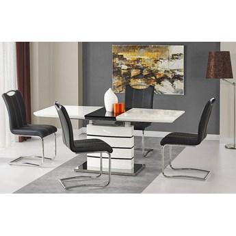 Stół rozkładany Nordes - biało czarny