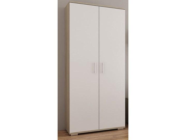 Szafa na ubrania Pixelo 3R - biała + dąb sonoma Kolor Biały Drewno Płyta MDF Kolor Beżowy