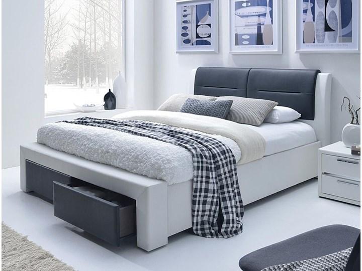 Łóżko Celine 140x200 - czarno - białe Kolor Biały Łóżko tapicerowane Rozmiar materaca 140x200 cm