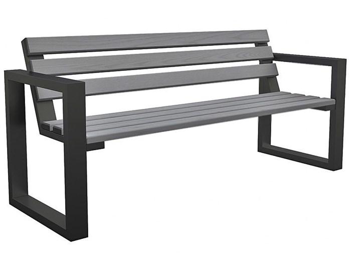 Ławka ogrodowa Norin Gray 150cm Stal Drewno Z oparciem Długość 150 cm Kolor Szary