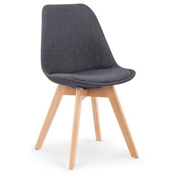 Stylowe tapicerowane krzesło drewniane Nives - ciemny popiel