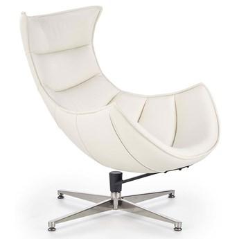 Obrotowy fotel wypoczynkowy ze skóry naturalnej Lavos - biały