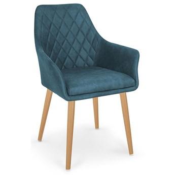 Krzesło pikowane z podłokietnikami Syvis - granatowe