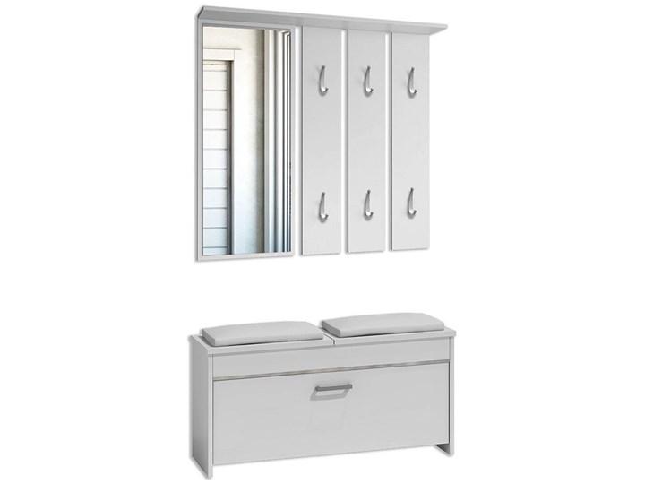 Garderoba z wieszakiem i szafką na buty do przedpokoju Avila - biała Kolor Biały