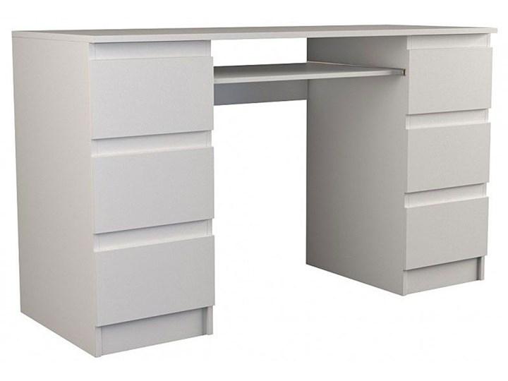 Białe biurko komputerowe - Liner 2X Płyta meblowa Kolor Biały Głębokość 50 cm Głębokość 130 cm Styl Nowoczesny
