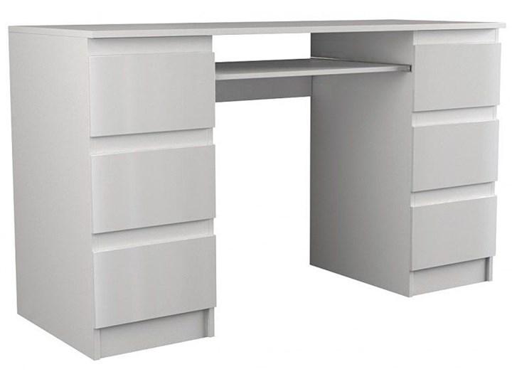 Lakierowane biurko Liner 3X - biały połysk Głębokość 50 cm Głębokość 130 cm Biurko tradycyjne Płyta meblowa Kategoria Biurka
