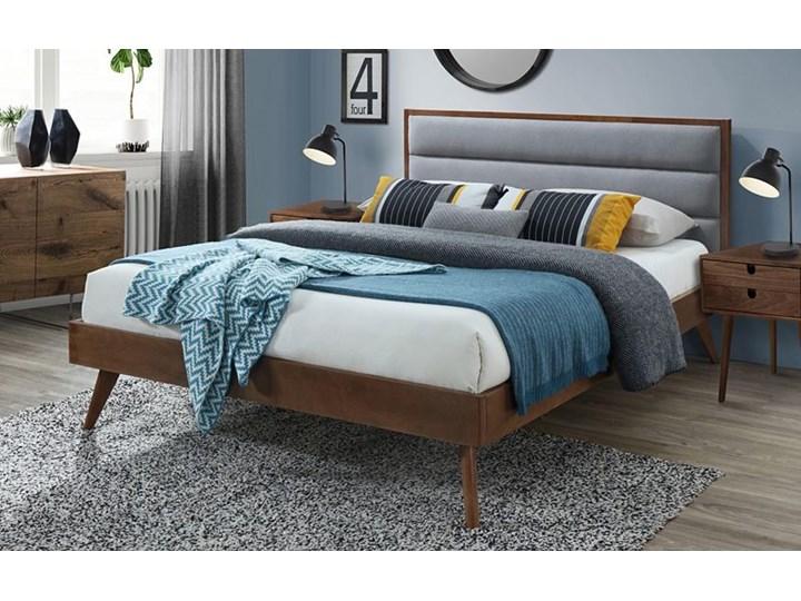 Łóżko Otto 160x200 cm - szare + orzech Kolor Brązowy Łóżko drewniane Kolor Szary