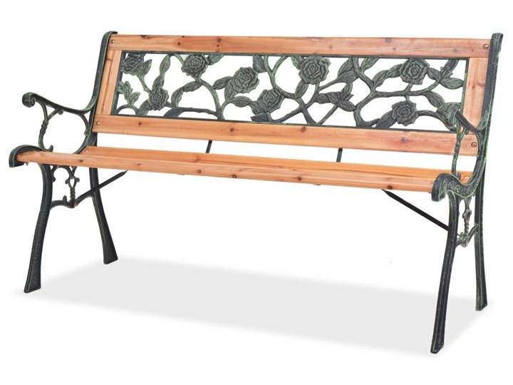 Drewniana ławka ogrodowa Rosa Długość 122 cm Drewno Z oparciem Kolor Czarny Kategoria Ławki ogrodowe