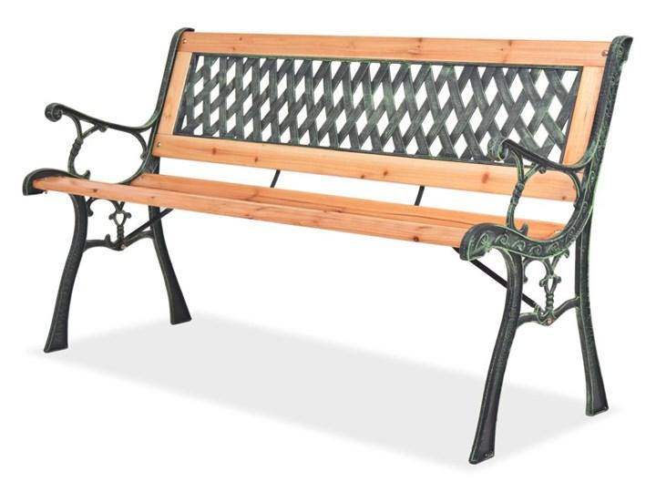 Drewniana ławka ogrodowa Rosa 2X Drewno Z oparciem Długość 122 cm Styl Klasyczny Kolor Brązowy