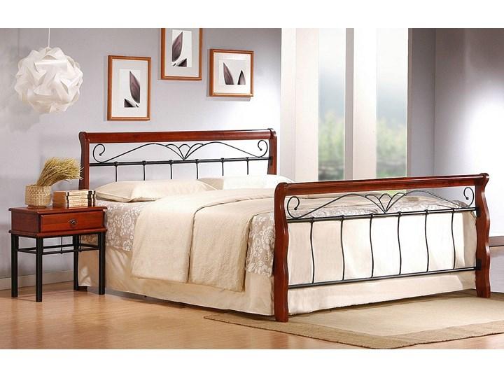 Stylowe łóżko Delixa 160x200 Łóżko drewniane Łóżko metalowe Kolor Brązowy Rozmiar materaca 160x200 cm