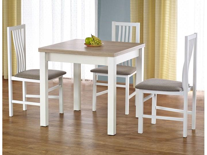Kwadratowy rozkładany stół kuchenny Cubires - biały + dąb sonoma Drewno Szerokość 80 cm Wysokość 76 cm Długość 80 cm  Kolor Beżowy