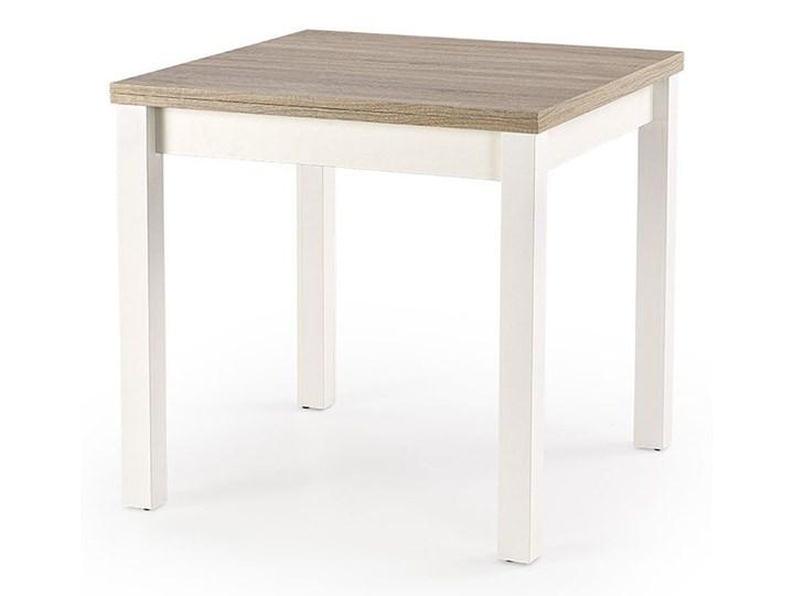 Kwadratowy rozkładany stół kuchenny Cubires - biały + dąb sonoma