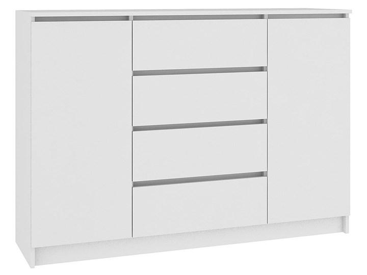 Komoda Intia 2X - biała Z szafkami i szufladami Wysokość 97 cm Pomieszczenie Salon Szerokość 40 cm Kolor Biały