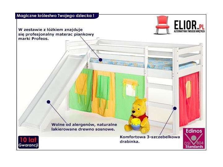 Łóżko ze zjeżdżalnią Flaser - białe Drewno Łóżka piętrowe ze zjeżdżalnią Kolor Biały Kategoria Łóżka dla dzieci