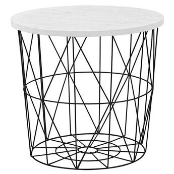 Okrągły stolik kawowy Rista - biały + czarny
