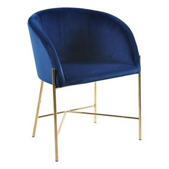 Tapicerowany fotel welurowy Ismen - niebieski