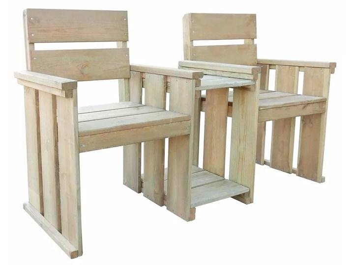 Drewniana ławka ogrodowa Larius - zielona Drewno Długość 150 cm Z oparciem Styl Rustykalny