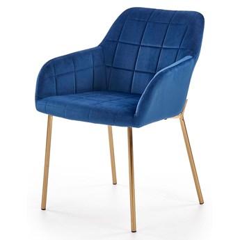 Tapicerowane krzesło pikowane Ansel - granatowe