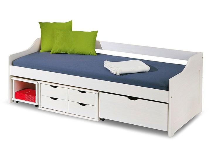 Jednoosobowe łóżko z szufladami Nixer - białe Tradycyjne Płyta MDF Rozmiar materaca 90x200 cm