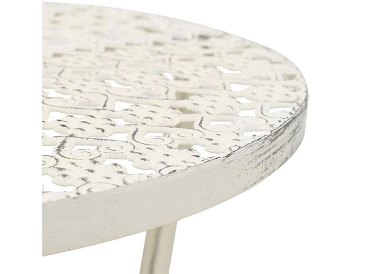 Romantyczny stolik vintage Marin - biały Wysokość 77 cm Kształt blatu Okrągłe Kategoria Stoliki i ławy