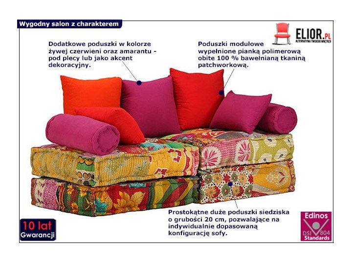 Modułowa sofa patchwork Demri 2D Modułowe Szerokość 70 cm Typ Gładkie Boki Z bokami