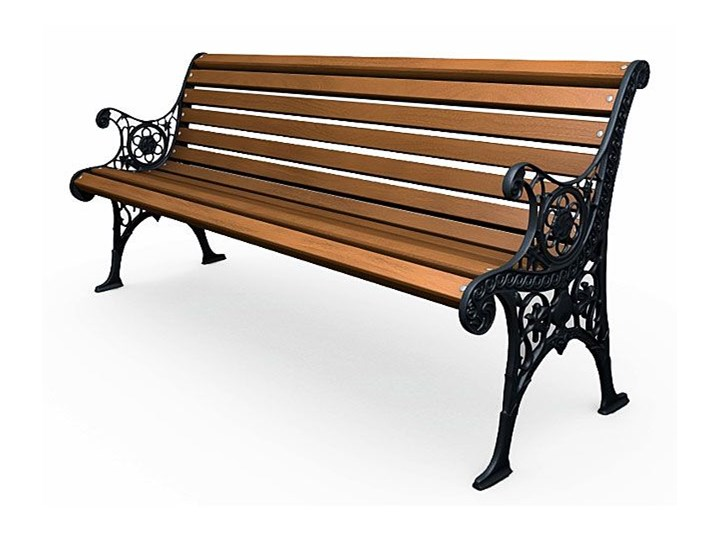 Żeliwna ławka parkowa z ornamentem Stal Z oparciem Długość 150 cm Kategoria Ławki ogrodowe Drewno Kolor Brązowy