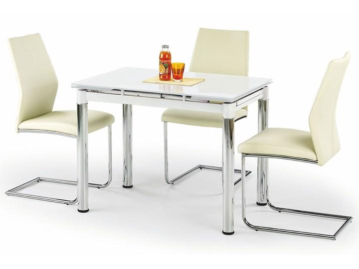 Rozkładany stół kuchenny Promex - biały Długość 96 cm  Stal Wysokość 75 cm Szerokość 70 cm Szkło Pomieszczenie Stoły do jadalni