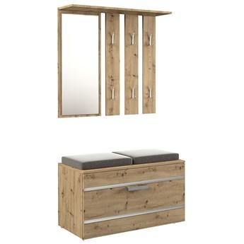 Garderoba z szafką na buty i lustrem + siedzisko Malea - dąb artisan