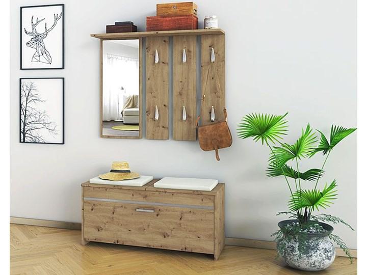 Garderoba z lustrem i szafką na buty Avila - dąb artisan Kolor Beżowy Kategoria Zestawy mebli do sypialni