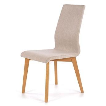 Tapicerowane krzesło drewniane Laris - beż + dąb miodowy